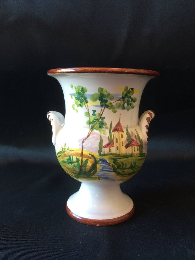 Signed Italy Majolica Deruta Hand Painted Small UrnVase