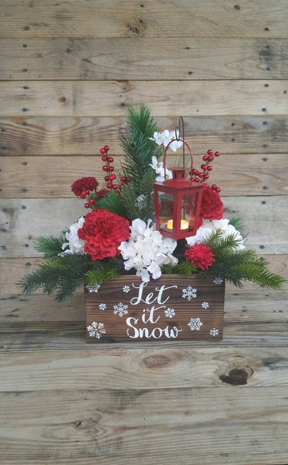 Pleasing Let It Snow Winter Centerpiece Christmas Centerpiece Lantern Arrangement Christmas Decoration Holiday Artificial Table Large Winter Home Interior And Landscaping Ologienasavecom