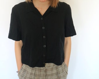 Vintage Black Button Up Cropped Blouse Crop Top for Woman