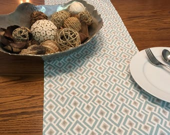 SALE! -  Archery Taupe Table Runner - Table Runner - Blue Kitchen Table Runner - Kitchen Table Runner - Blue