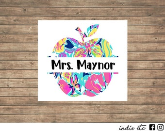 Apple Vinyl Decal With Name - Choose Your Color and Size
