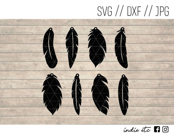 Feather Earrings Digital Art File Svg Dxf Jpeg Perfect For Etsy