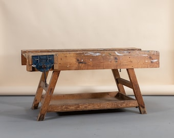 Vintage wooden workbench, low workbench, shop display table