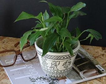 Cream and grey patterned roman scene plant pot