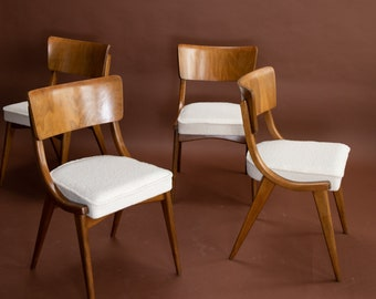 SOLD OUT Set of four Ben chairs, cream boucle, mid century