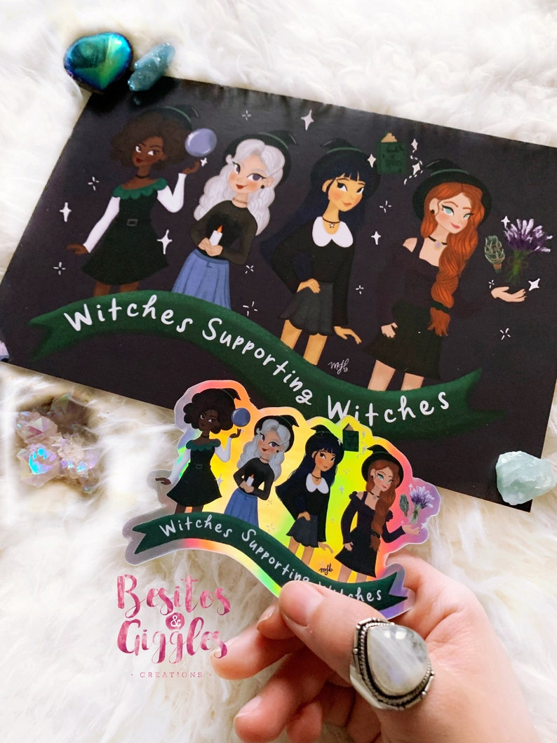 WSW BUNDLE Print and sticker Witches Supporting Witches feminist witch sticker holographic witch stickerwitchy print