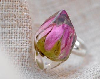 Real flower ring Rose ring Resin rings Resin flower ring Terrarium ring Crystal ring Nature resin jewerly Botanical ring Nature ring