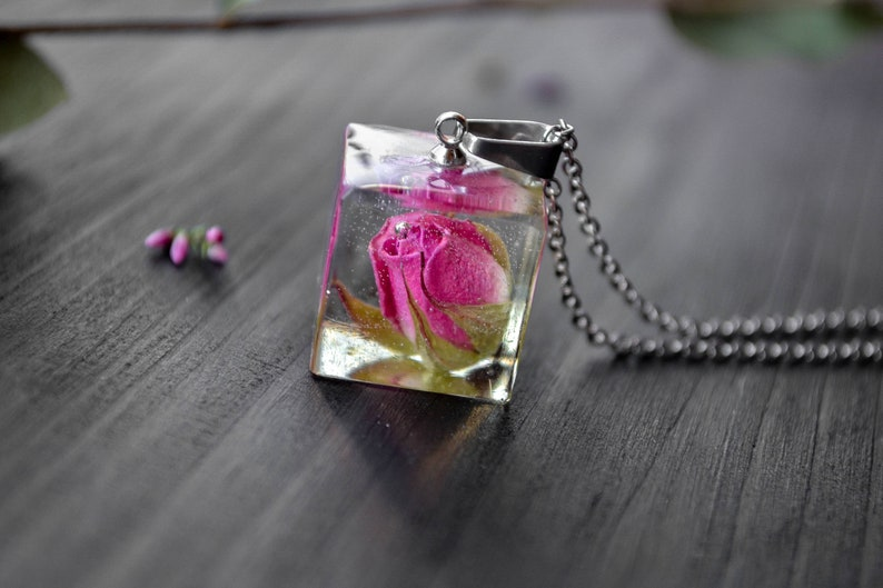 Grandmother necklace dry flower jewelry Terrarium earrings purple dried flowers Mommy necklace flower jewelry New grandmother gift