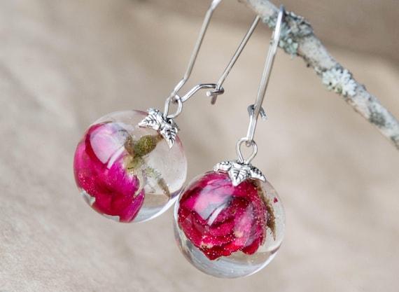 real fern terrarium drop earrings forest wild rustic statement earrings dry flowers dangle dangling earrings romantic boho gypsy jewelry