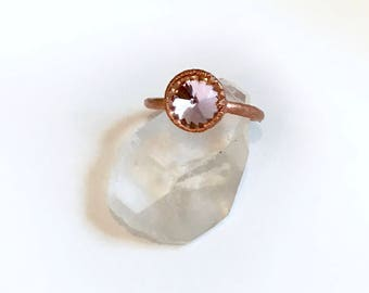 Electroformed Ring // Pink Swarovski Crystal and Copper Ring
