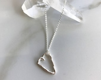 Fused Silver Heart Necklace//Two Become One