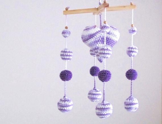 Coeur De Berceau Mobile Mobile Chambre Denfant Crochet Etsy