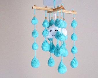 Crochet Rain Crib Mobile / Rain Crochet Mobile / Crochet Mobile / Nursery Decor /  Nursery Furniture / Baby Shower