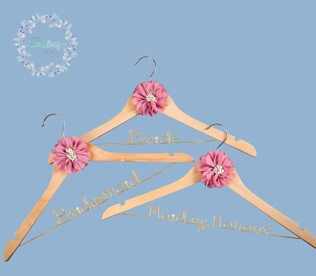 Personalised Coat Hangers 3 Pcs Set Bride Bridesmaid Maid