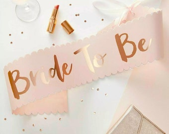 Rose Gold Hen Party Sashes, Bridal shower gift ideas, Bachelorette Party, Hen night, Hen Party, Sashes hen do, Sashes Bride, Team Bride