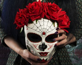 Santa Muerte mask, Day of The Dead Mask, red flower, mexican mask, Halloween mask.