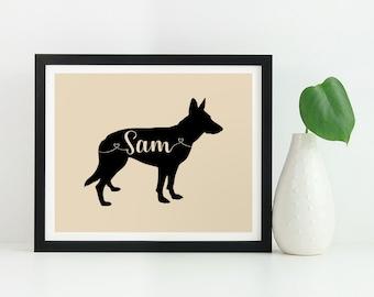 German Shepherd art print, custom German Shepherd gift, German Shepherd silhouette wall art poster, German Shepherd memorial