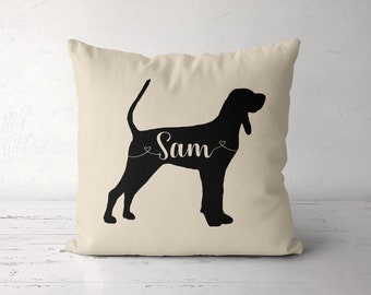 Custom Black and Tan Coonhound Pillow, Personalized Coonhound Pillow Case Cover, Birthday Gift for Coonhound Owner Lover, Coonhound Dog Mom