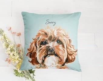 Custom Pet Pillow, Pet Portrait Pillow, Dog Pillow, Cat Pillow, Pet Cushion, Dog Mom, Personalized Mother's Day Gift for Dog Lover Pet Owner