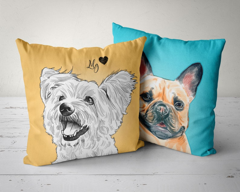 Custom Pet Pillow Pet Portrait Pillow Dog Pillow Cat image 0