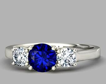3 Stone Engagement Ring. 14k white gold 2 Carat Engagement Ring.Hand made 3 Stone Ring.|Sumuduni Gems