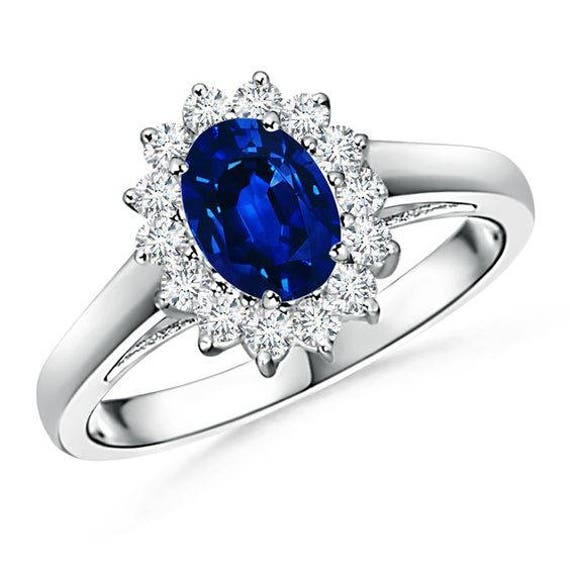 Oval Ceylon Blue Sapphire Ring In 18k White Gold Kate Etsy