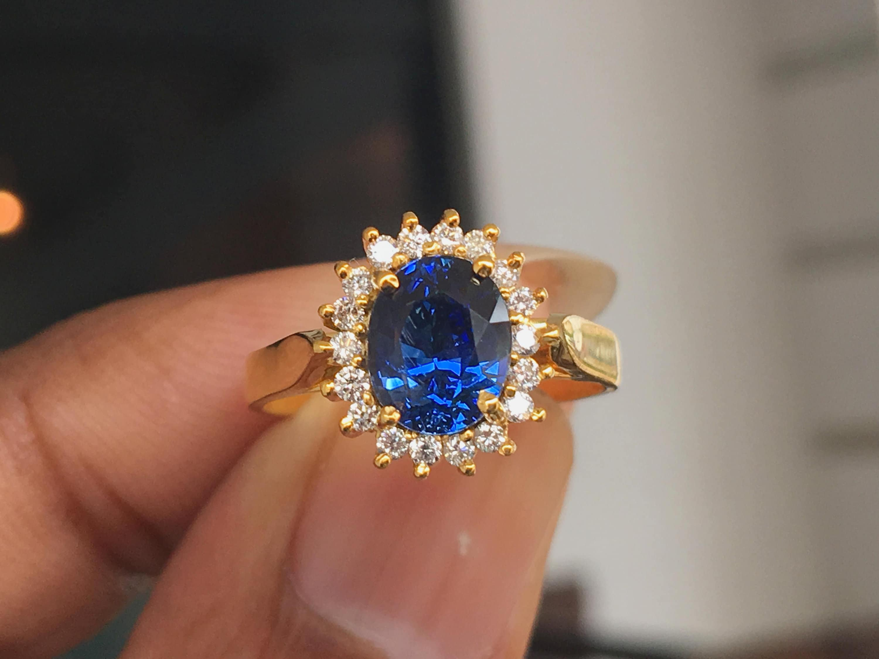Vintage Engagement Ring 18K Yellow Gold Ring Set With Natural Blue Sapphires and Diamonds Ring Size 9 or R