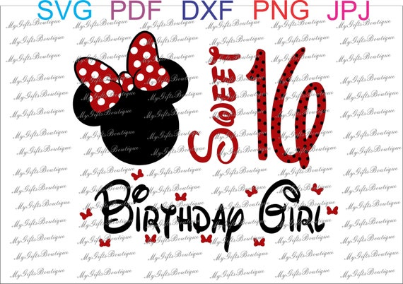 image regarding Minnie Mouse Silhouette Printable named Cute 16 birthday female minnie mouse intellect SVG ,PNG ,JPG,Pdf , Dxf slicing documents silhouette, Printable Iron upon Move, Print at Residence,