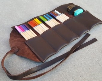 Brown Leather Pencil Roll, 24 ct, Leather pencil case, pen case, pen roll, leather marker roll, leather pencil wrap, sketch roll