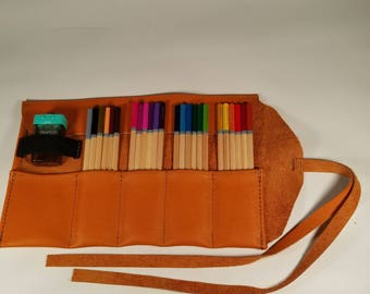 Orange Leather Pencil Roll, 24 ct, Leather pencil case, pen case, pen roll, leather marker roll, leather pencil wrap, sketch roll
