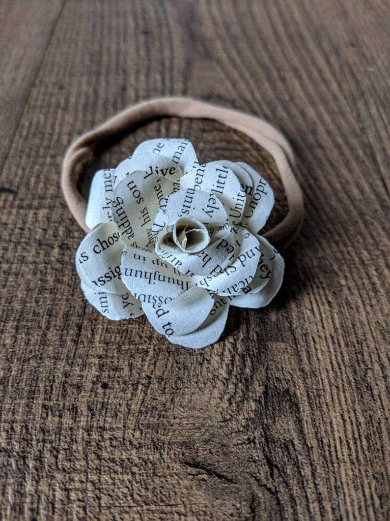 Infant and Baby Headband Turban with Book Rose