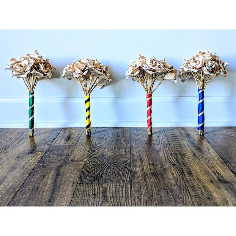 Harry Potter Wedding Book Pages Forever Roses Ravenclaw, Hufflepuff,  Gryffindor, Slytherin House Colors
