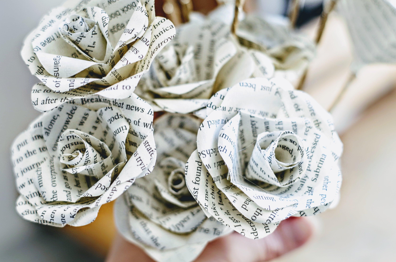 Wedding Paper Flower Bouquet Dozen Long Stem Forever Roses Etsy