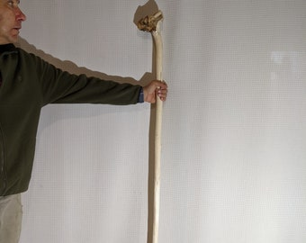 """70"""" Unfinished Aspen Hiking Stick Blank With Rootball Handle (#1375)"""