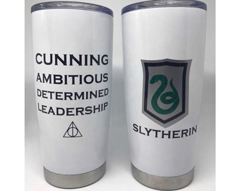 Slytherin House Shield Traits 20oz 22oz Cup Stainless Steel Metal Thermal Tumbler