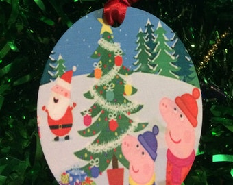 peppa pig christmas inspired christmas tree ornament 2 sided can be personalized new