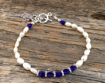 Cobalt  and Freshwater Pearls with Sterling Clasp
