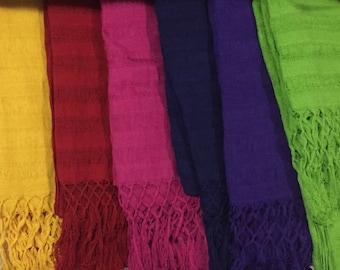 Rebozo mexicano, chalina, mexican rebozo, scarf, bufandas, fulares, bufanda mexicana 100% cotton, deshilado fino, chal tejido, poncho, capa