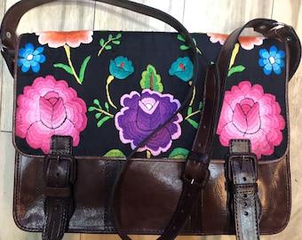Embroidered leather messenger bag 1549e1c2e25