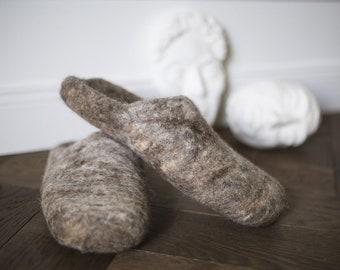 c06c4a1db611 Felt felted wool slippers - minimalist scandinavian unisex desing - wool  clogs - boiled house shoes - felt mules for women men - handmade