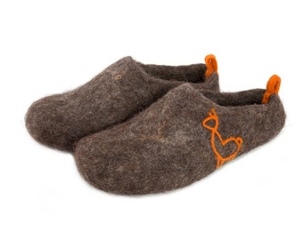 5368650af0e3c3 Scandinavian felt felted wool slippers - unisex wool clogs - boiled wool  house shoes - felt mules for women men - eco wool - handmade