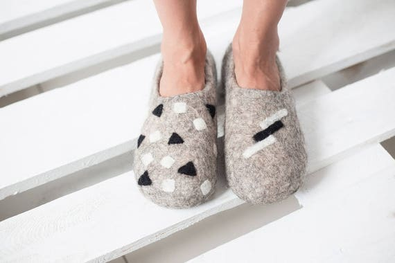 Felt Felted Wool Slippers Clogs House Shoes Mules Etsy