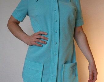 Women's Robin's Egg Blue Vintage Button Up Smock
