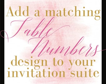 Add a Design/Table Numbers/Coordinating Design/DIY Printing/Budget Conscious Brides