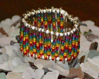 Rainbow Safety Pin Bracelet