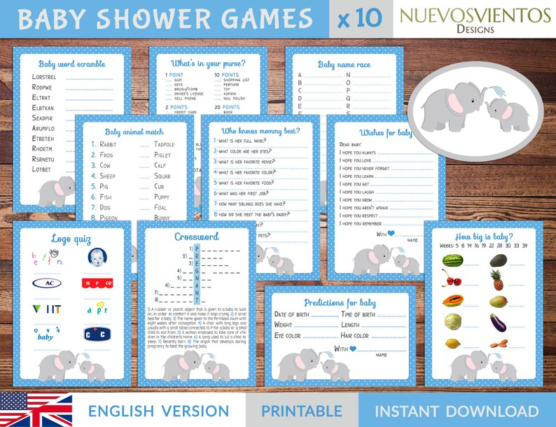 photograph about Logo Quiz Printable identify Kid shower ELEPHANT topic for boy. Offer x 10 game titles printable, Immediate down load.