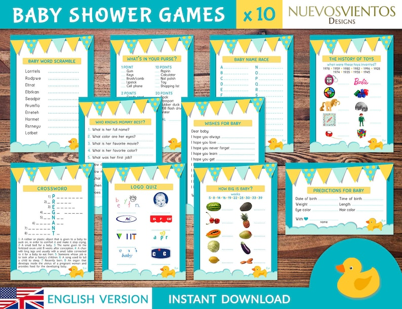 picture relating to Logo Quiz Printable titled Rubber Duck Little one shower online games printable + Remedy keys. Prompt down load.