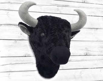 Bison head wall mount, faux taxidermy, animal heads wall decor, faux animal head, rustic decor, rustic baby bedroom, woodland nursery