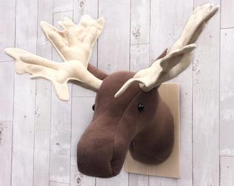 Moose head, faux taxidermy, fake animal head, nursery wall decor, animal trophy, faux animal heads, rustic nursery, rustic decor, woodland