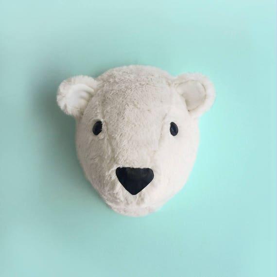 polar bear head faux taxidermy polar bear head nursery decor etsy